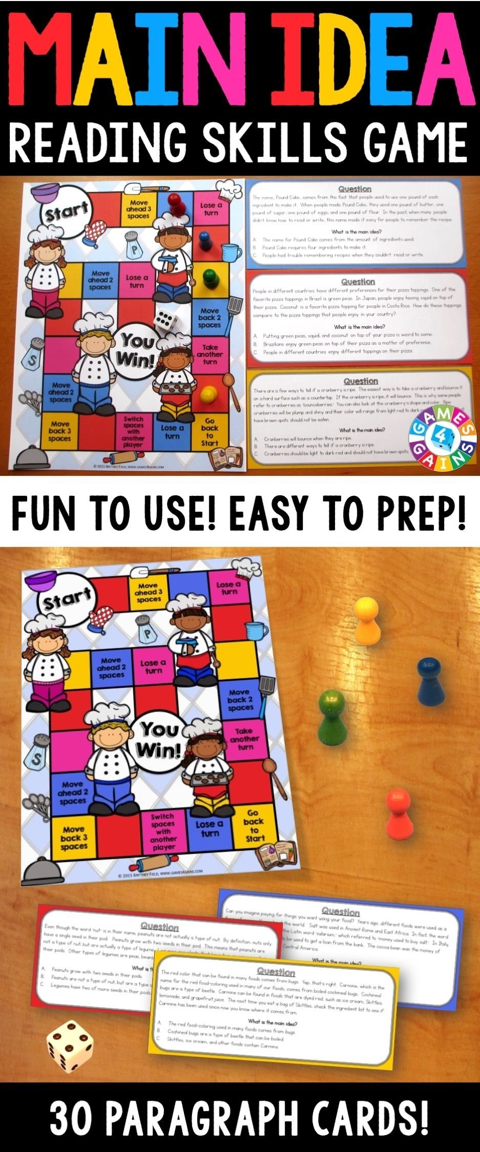 10 Most Recommended Main Idea And Details Games main idea and details task cards reading comprehension passages 2020
