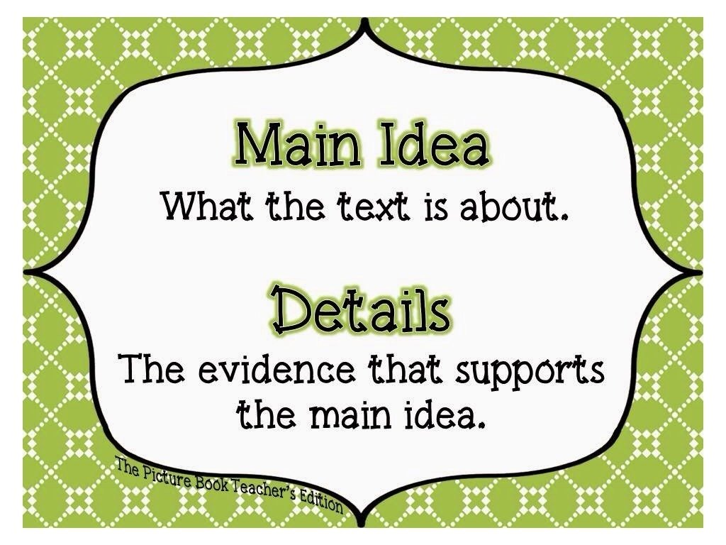 10 Pretty What Is A Main Idea main idea and supporting details english writing reading showme 2 2020