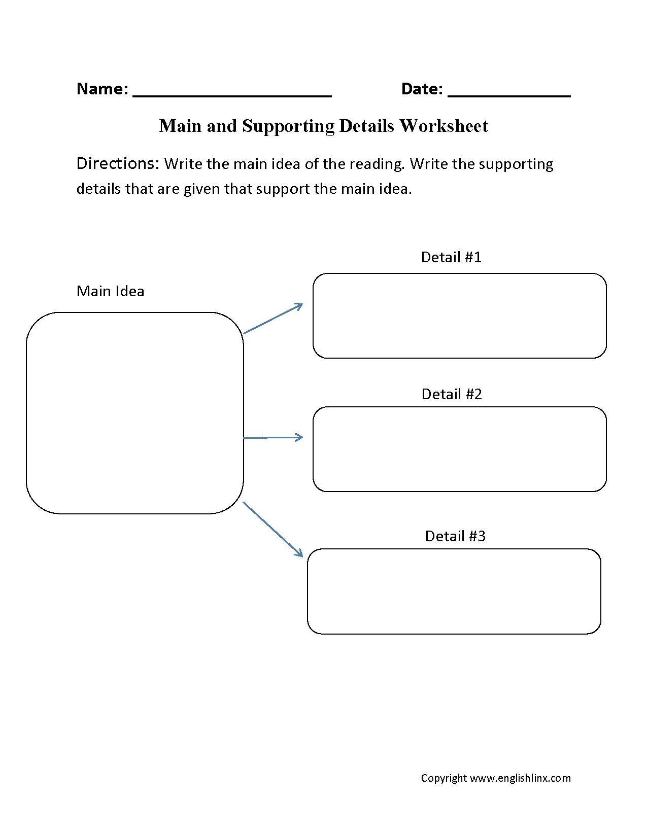 10 Best Graphic Organizer For Main Idea main idea and supporting details graphic organizer worksheets for 1 2020