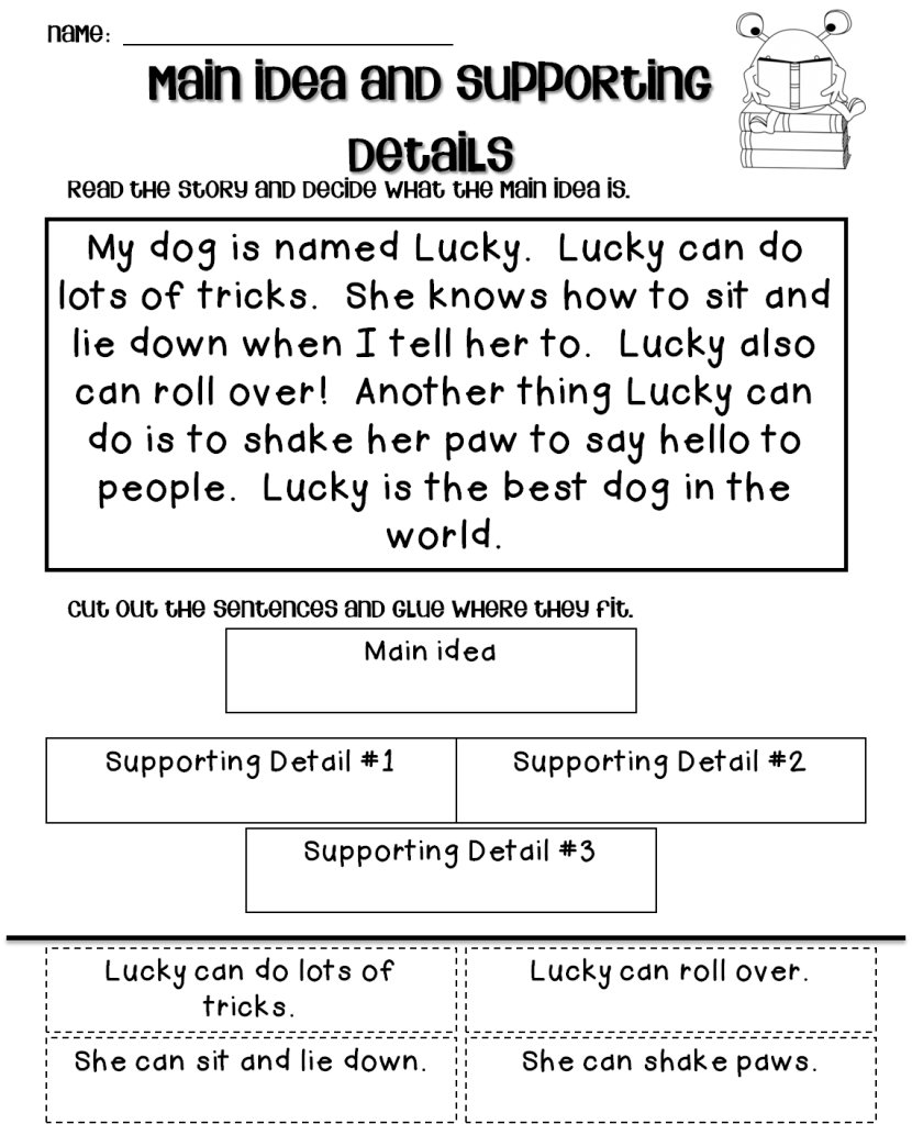 10 Ideal Main Idea And Supporting Details Passages main idea and supporting details worksheets 3rd grade worksheets for 11 2020