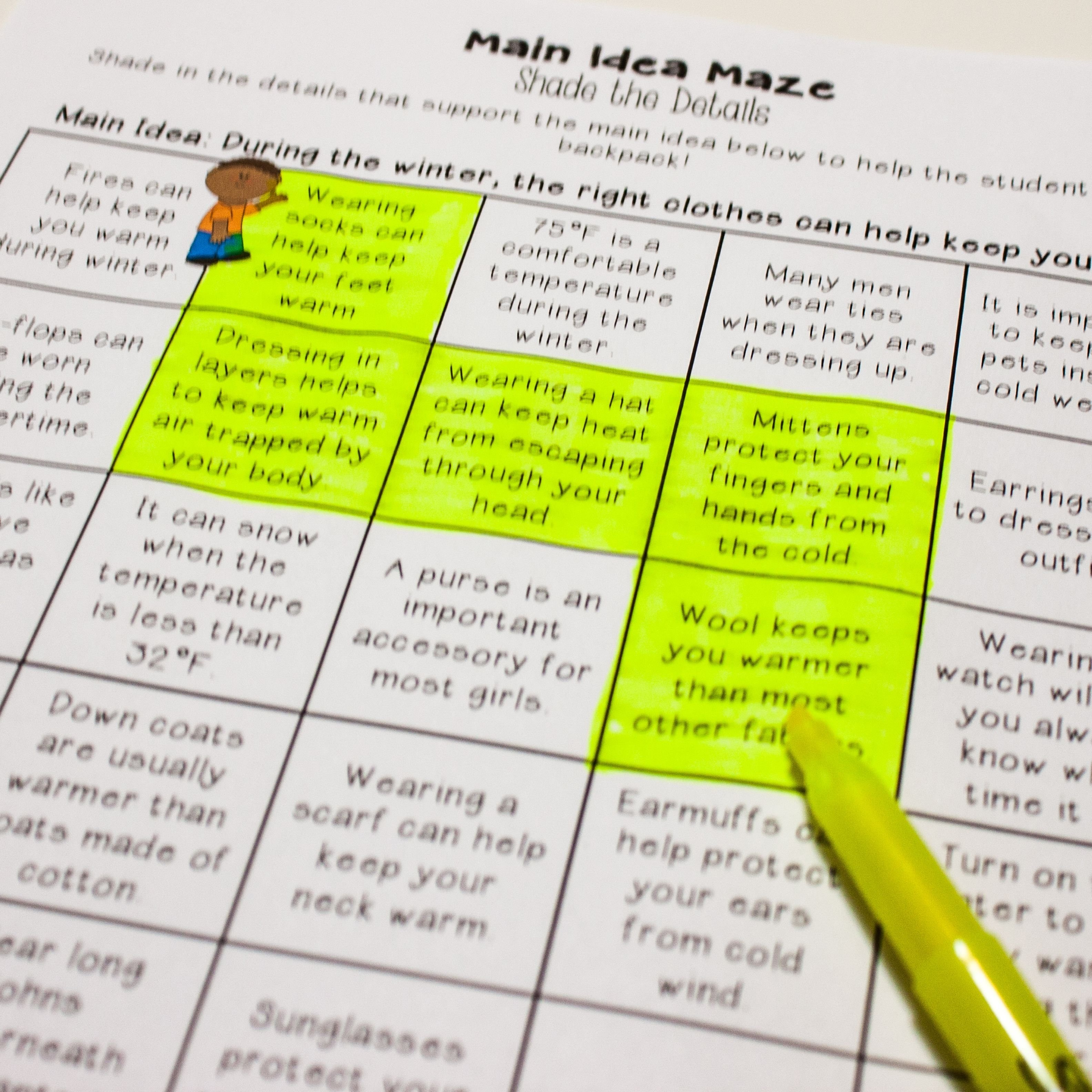 main idea centers - main idea games - in nonfiction / informational