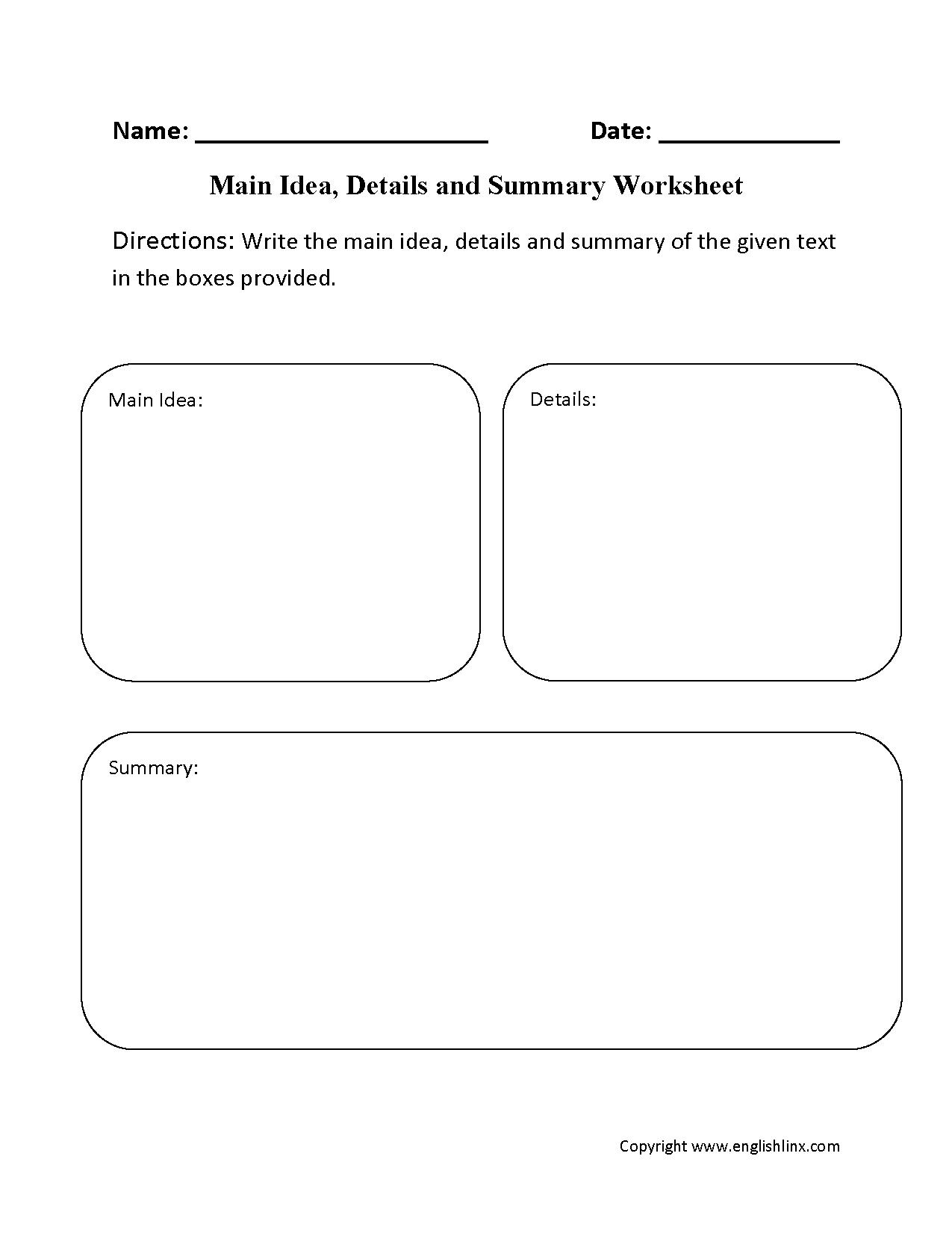 10 Beautiful Main Idea Worksheets 7Th Grade main idea details and summary worksheet education language arts 2021