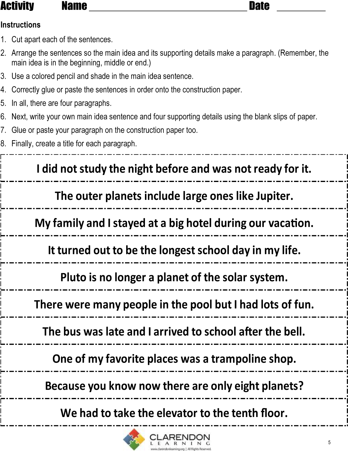 10 Awesome Main Idea Worksheets For Middle School main idea grades 3 4 lesson plan clarendon learning 15 2021