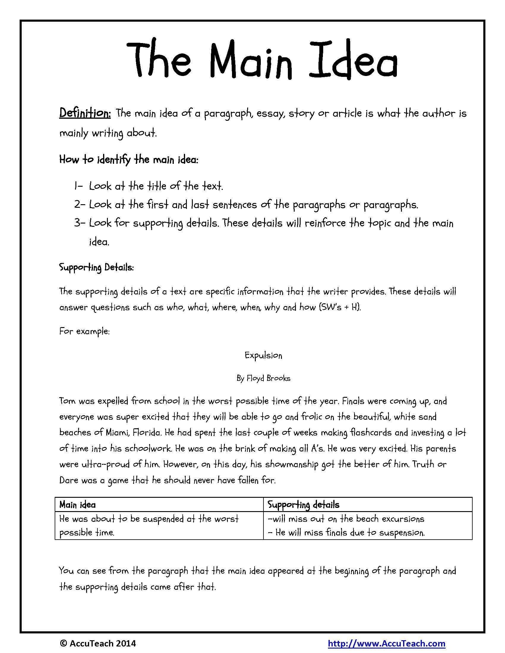 10 Unique Main Idea Worksheets 1St Grade main idea worksheets for 1st grade free worksheets library 2020