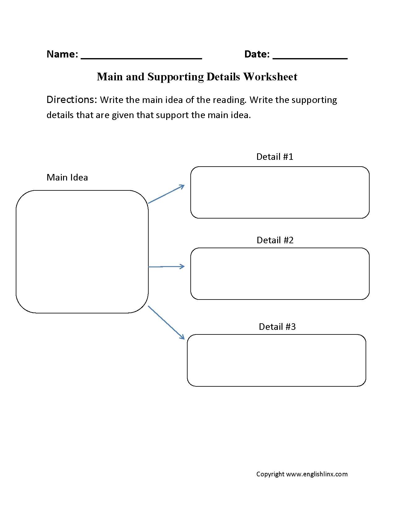 main idea worksheets | main idea and supporting details worksheet