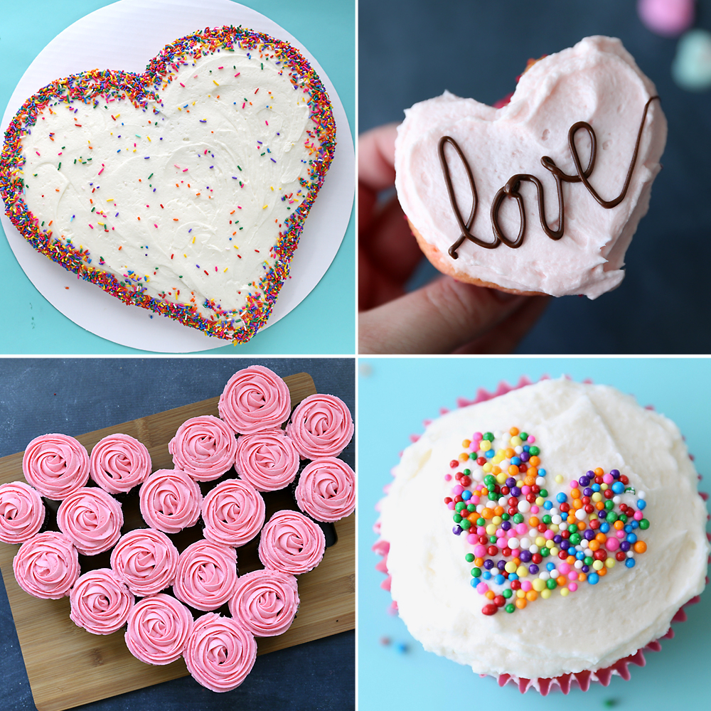 make a heart shaped cake for valentine's day - four different ways
