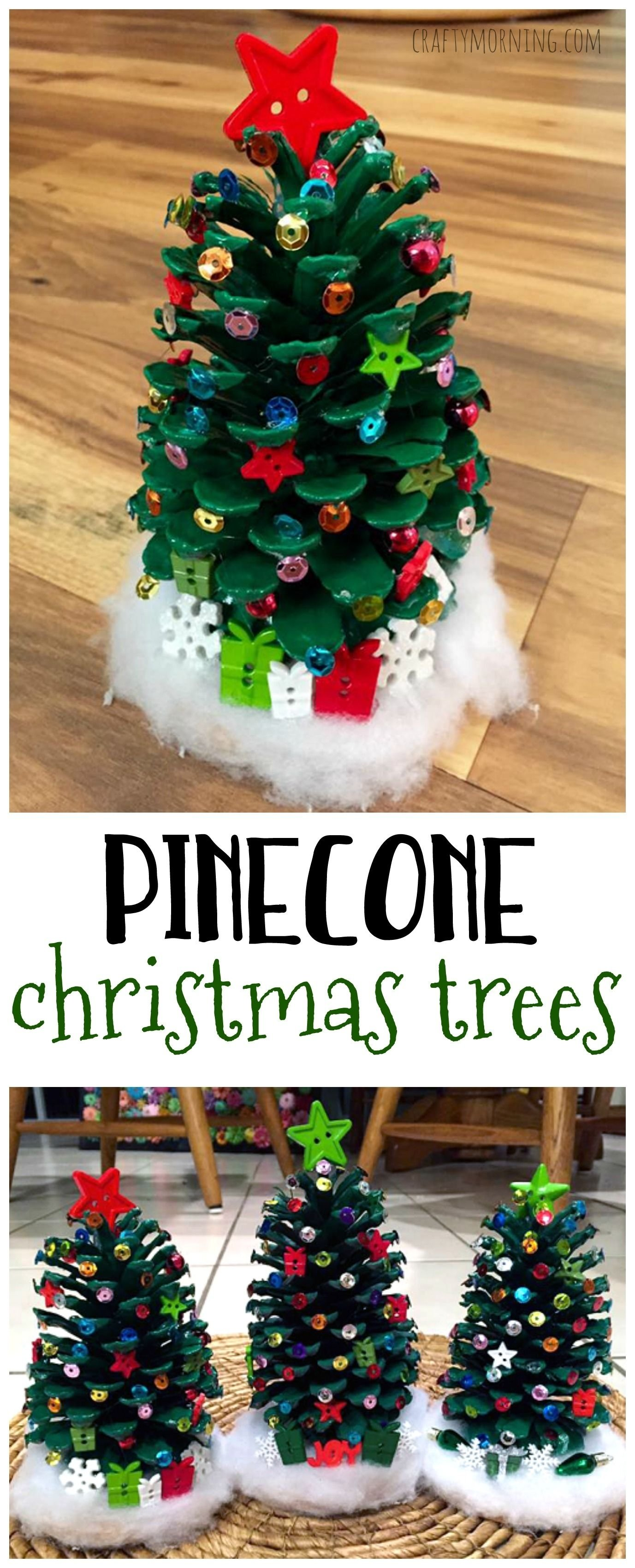 10 Attractive Easy Christmas Craft Ideas For Kids make adorable pinecone christmas trees for a christmas kids craft 2021