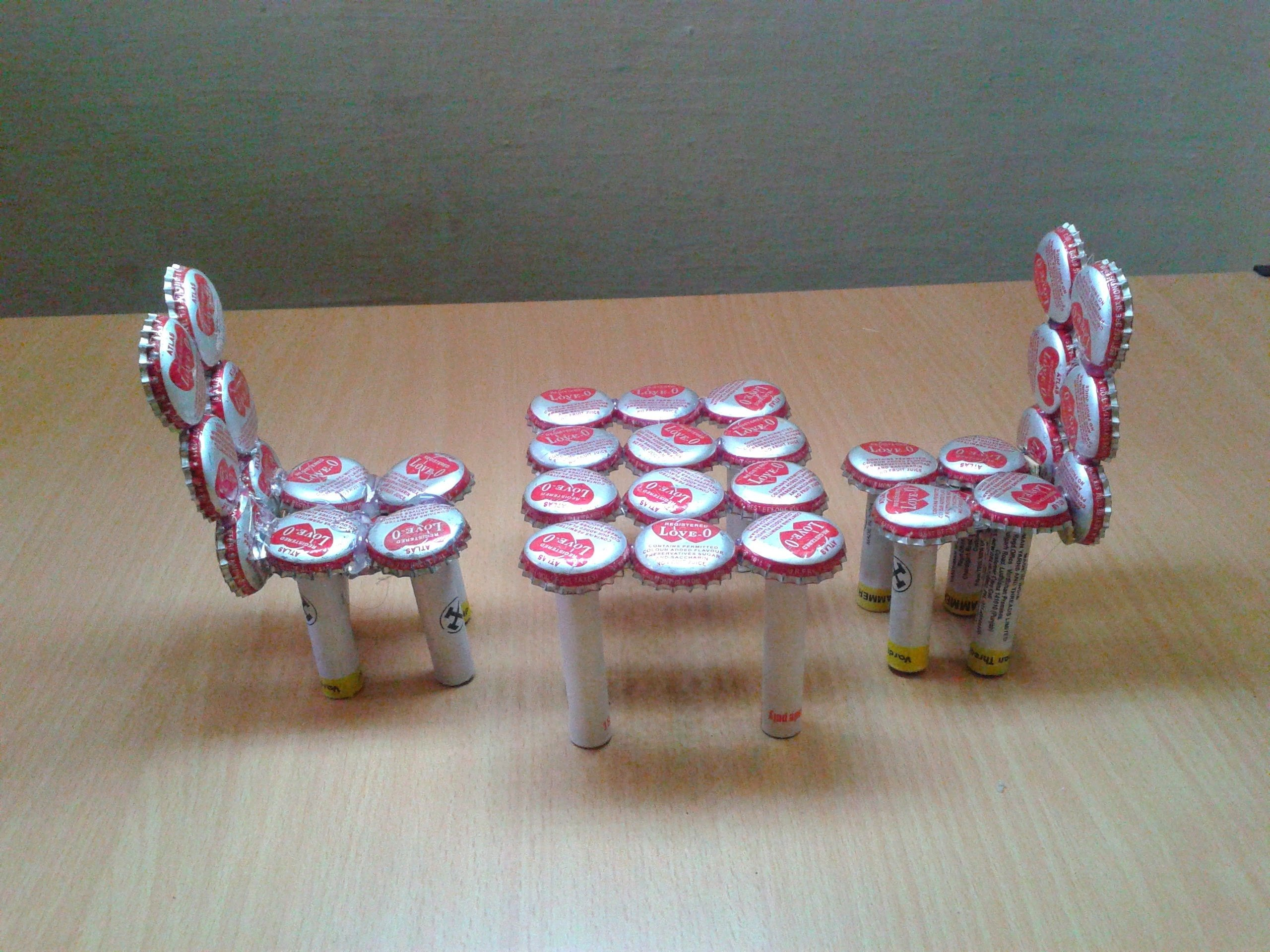 10 Wonderful Recycle Project Ideas For School make miniature table chairs from waste bottle caps recycled craft 2021