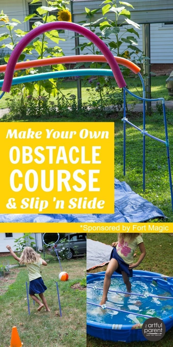 10 Fantastic Fun Obstacle Course Ideas For Adults make your own obstacle course for kids and diy slip n slide jeux