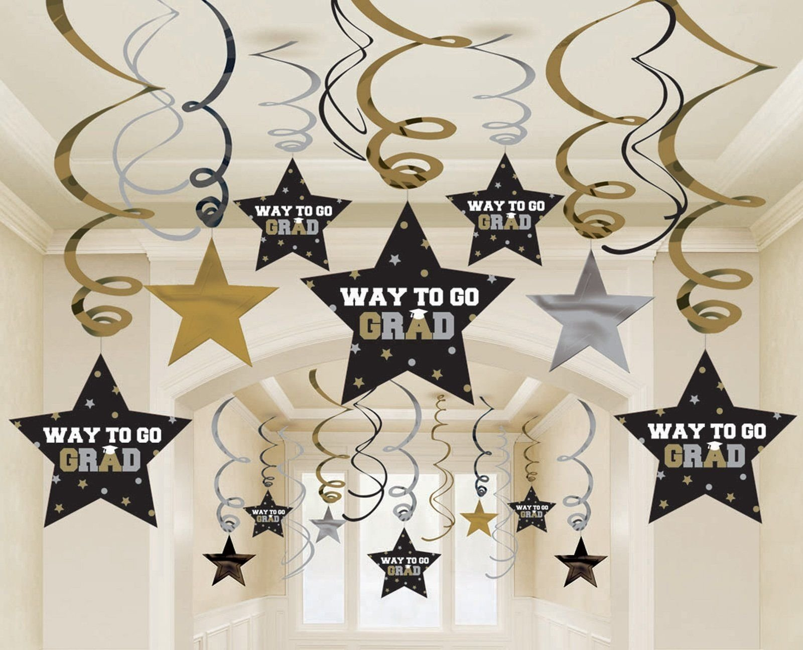 10 Fantastic Black And Gold Party Ideas male graduation decorations res image of graduation star swirl