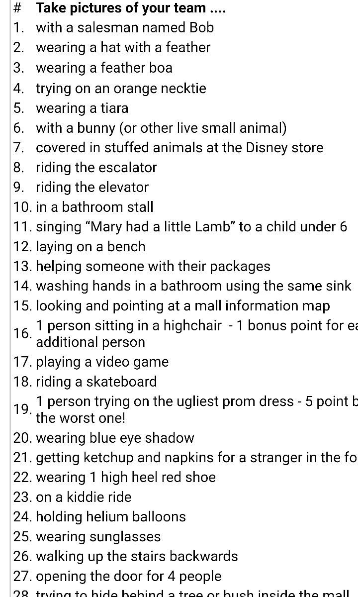 10 Amazing Ideas For A Scavenger Hunt mall scavenger hunt explore pinterest mall scavenger hunt 5 2021