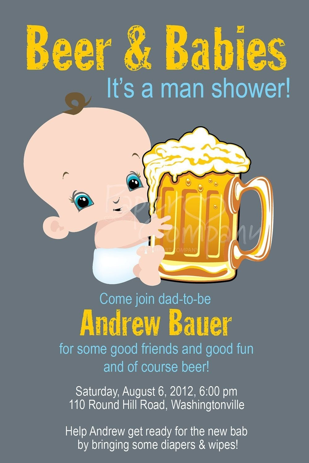man shower beer and babies diaper party invitation printable diy