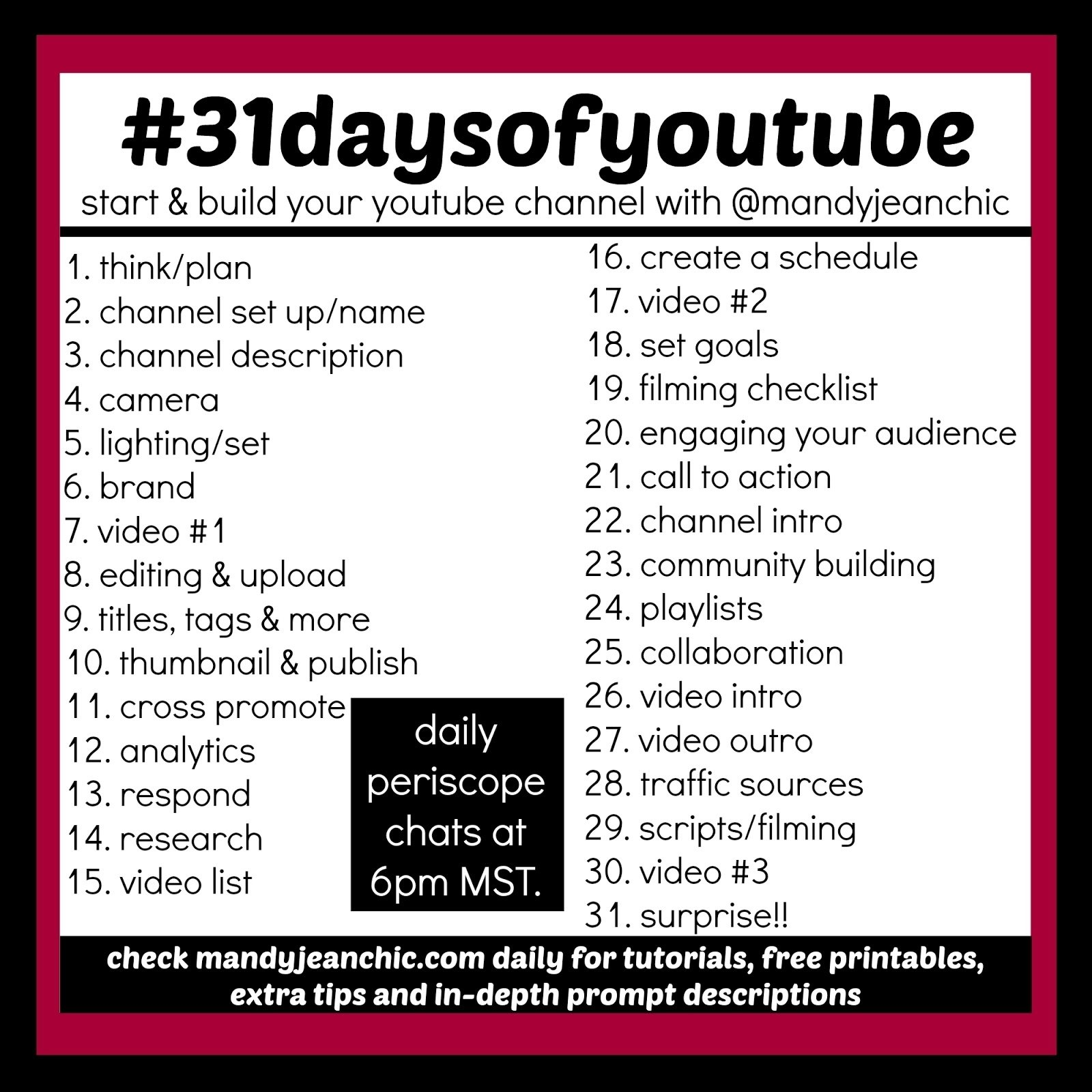 mandy jean chic: #31daysofyoutube-day 2- channel set up/name