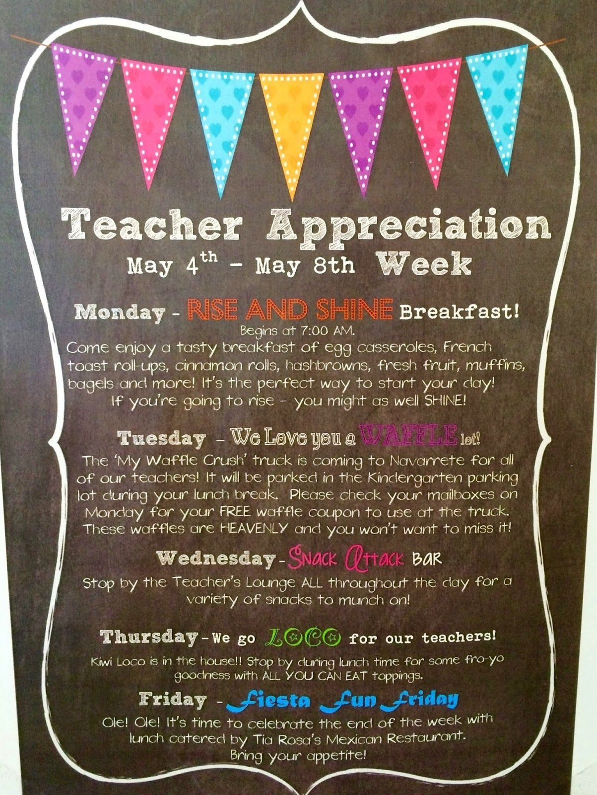 10 Gorgeous Teacher Appreciation Week Theme Ideas marci coombs teacher appreciation breakfast pta pinterest