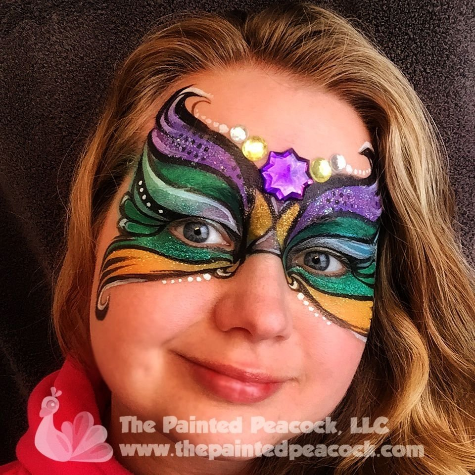 mardi gras face paint 2015, the painted peacock, llc, www