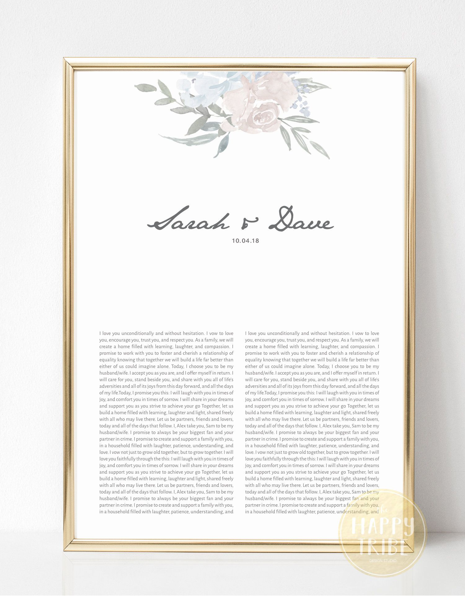10 Most Recommended Valentines Day Ideas For Newlyweds marriage vows keepsake print for anniversaries newlyweds gift 2020
