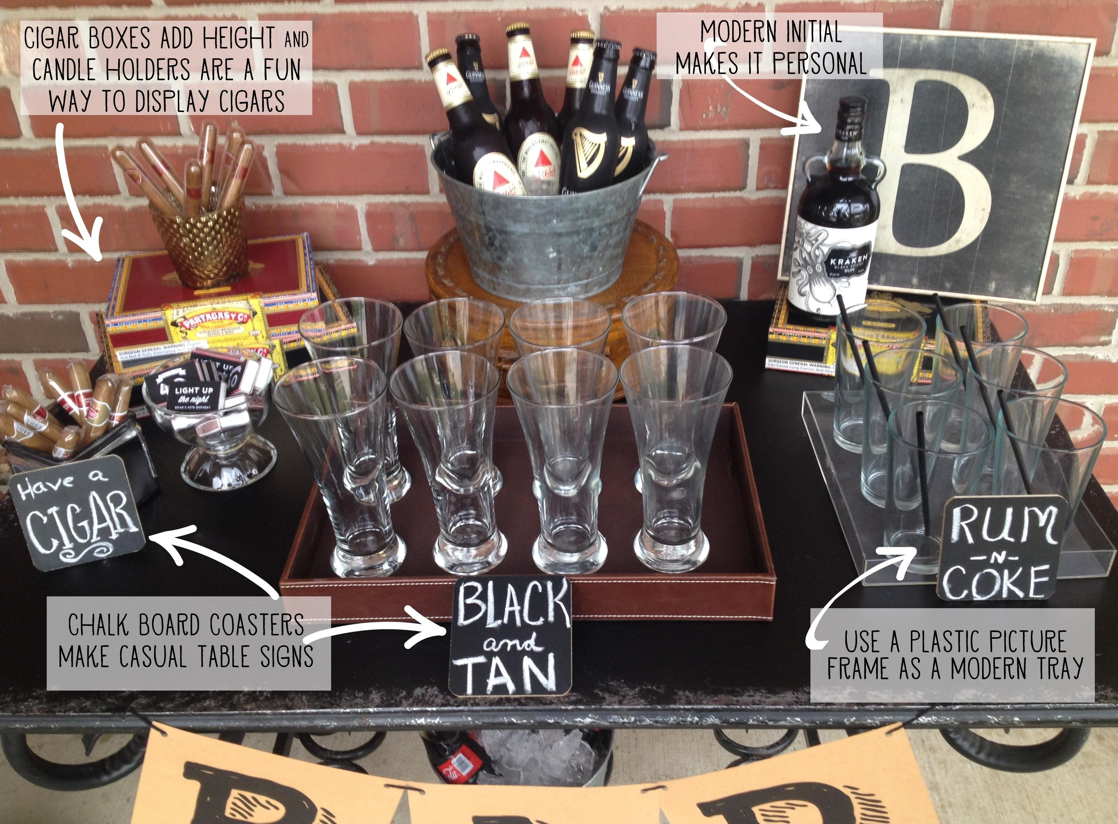 10 Fabulous 30Th Birthday Party Ideas For Men Masculine Bar Display 40th Pinteres 1