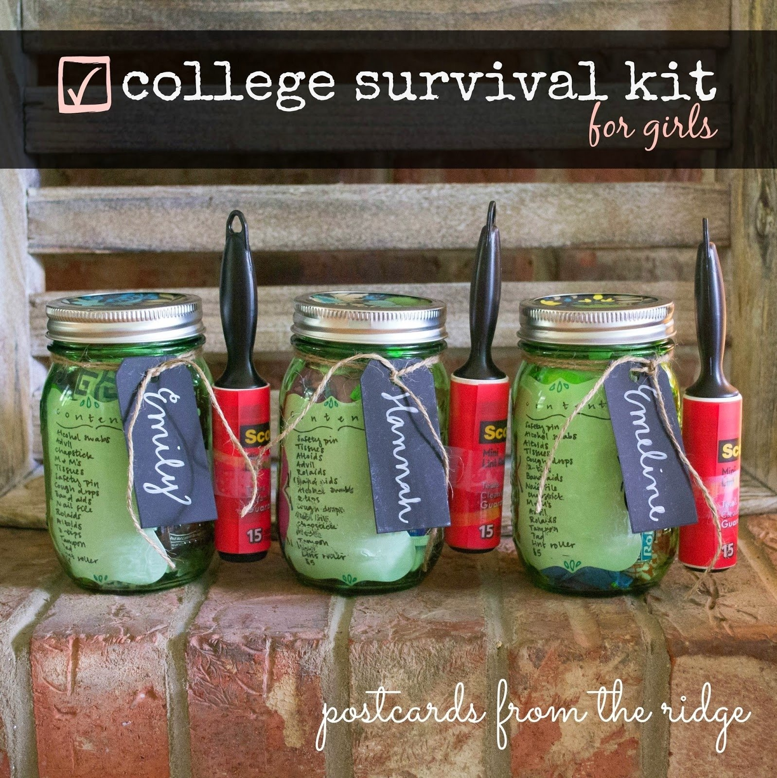 10 Unique Gift Ideas For College Freshmen mason jar college survival kit giveaway postcards from the ridge 2020