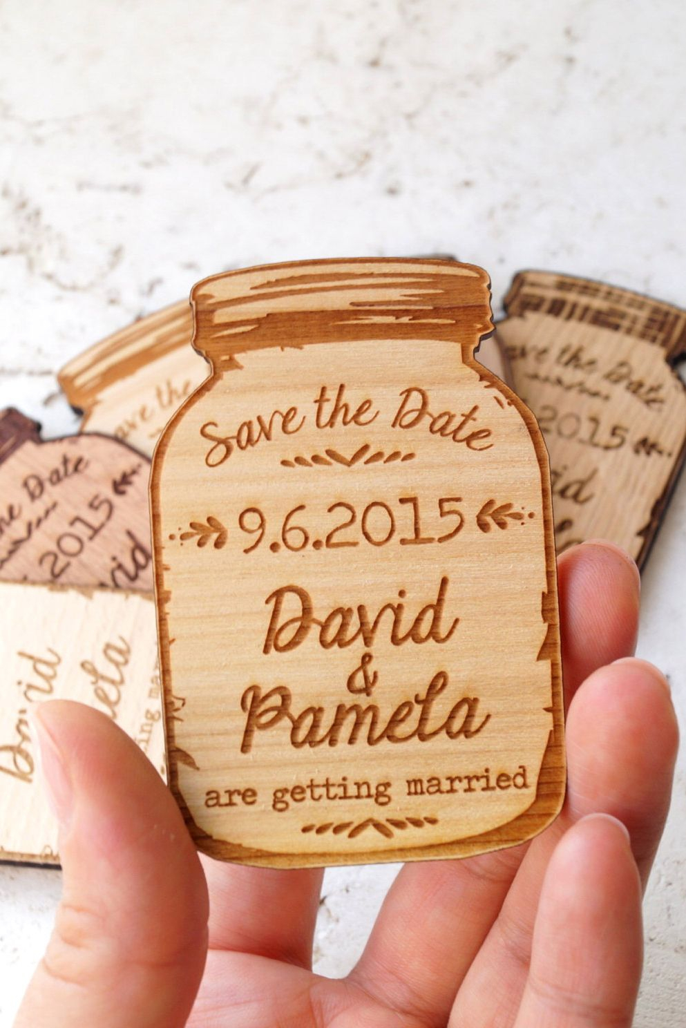 mason jar magnets, save the date magnet, rustic save the date, save