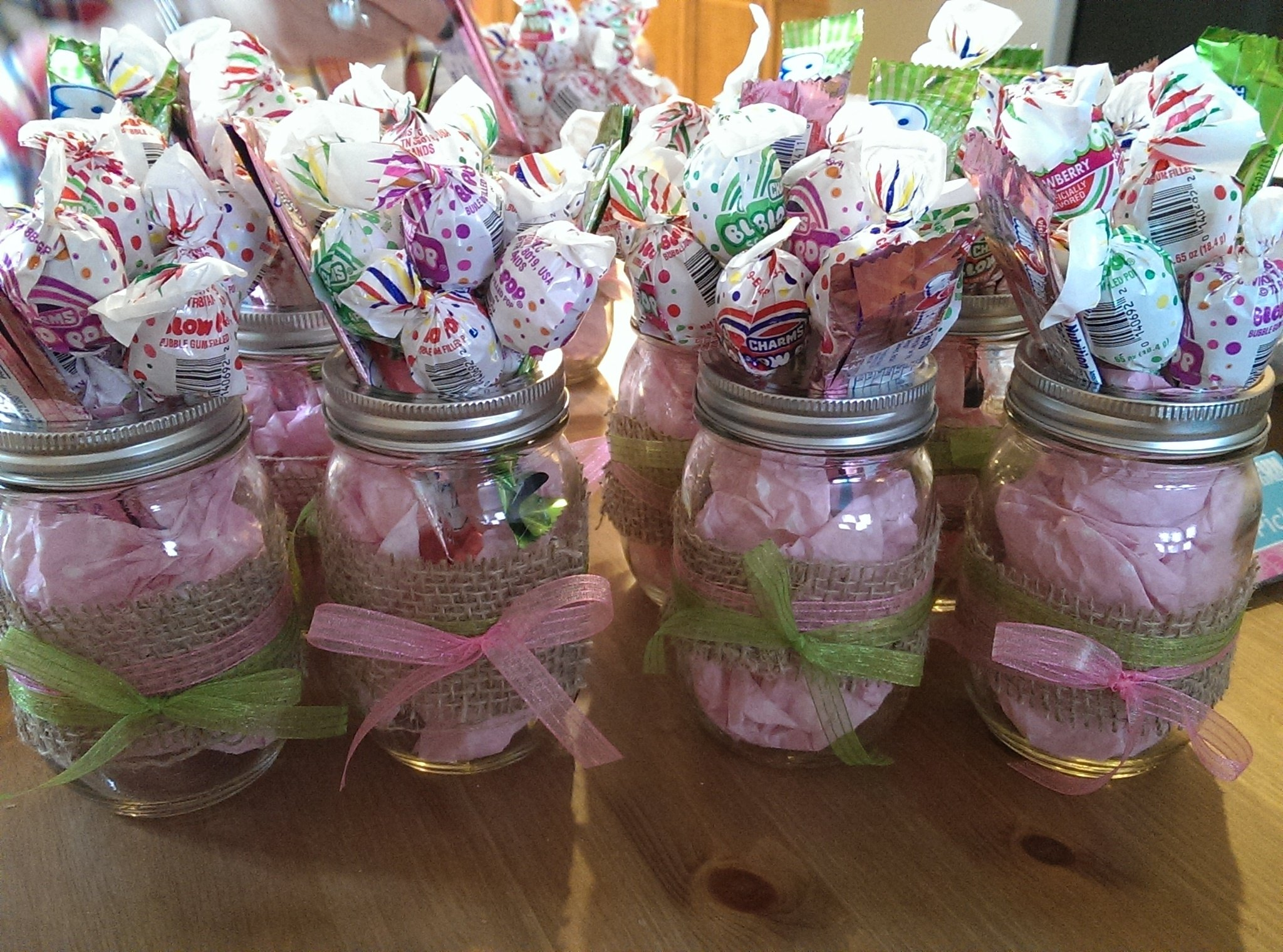 mason jars - baby shower - center pieces - baby girls | decorations