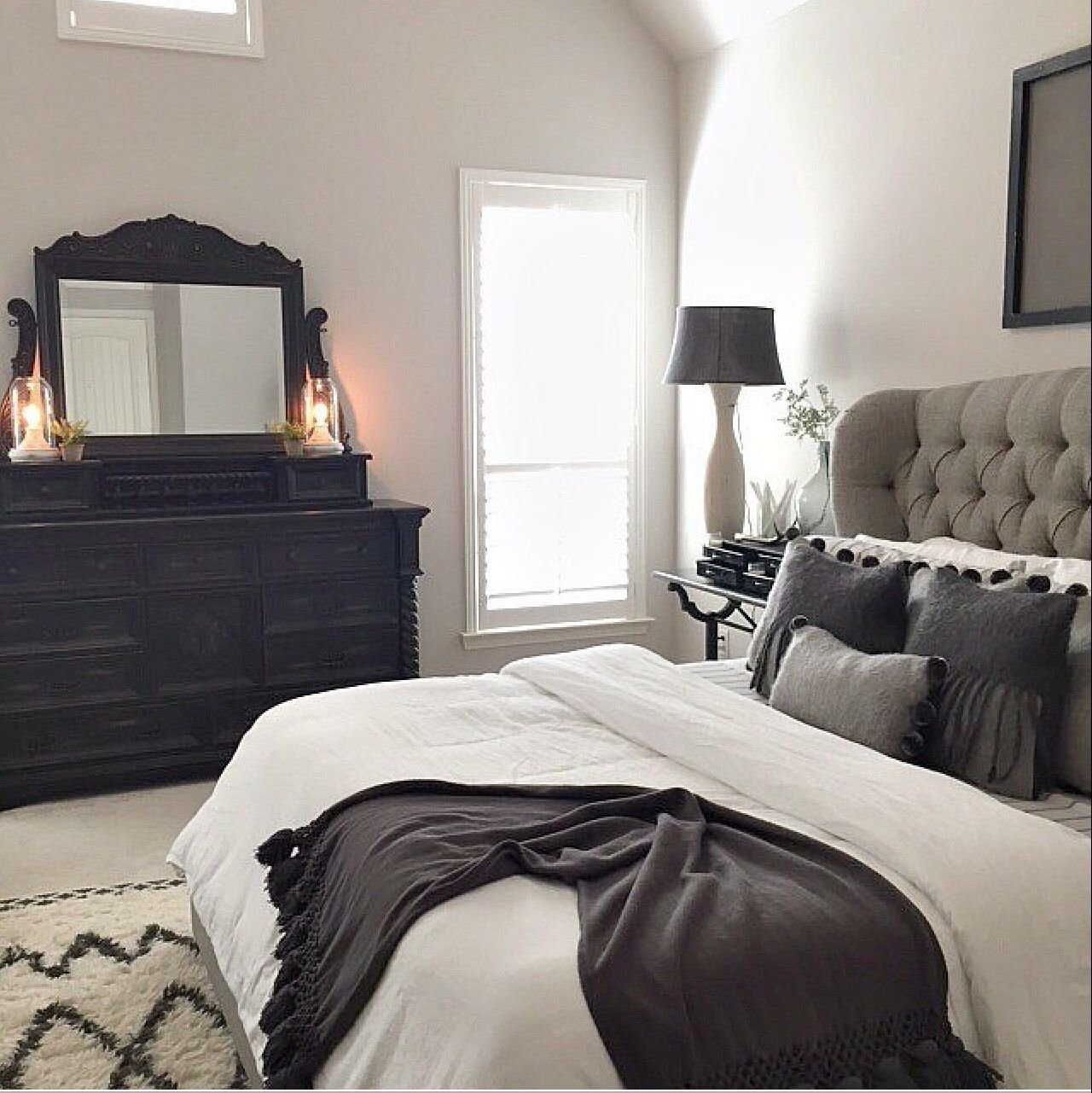 10 Perfect Black And Gray Bedroom Ideas master bed tufted grey headboard future house decor pinterest 2
