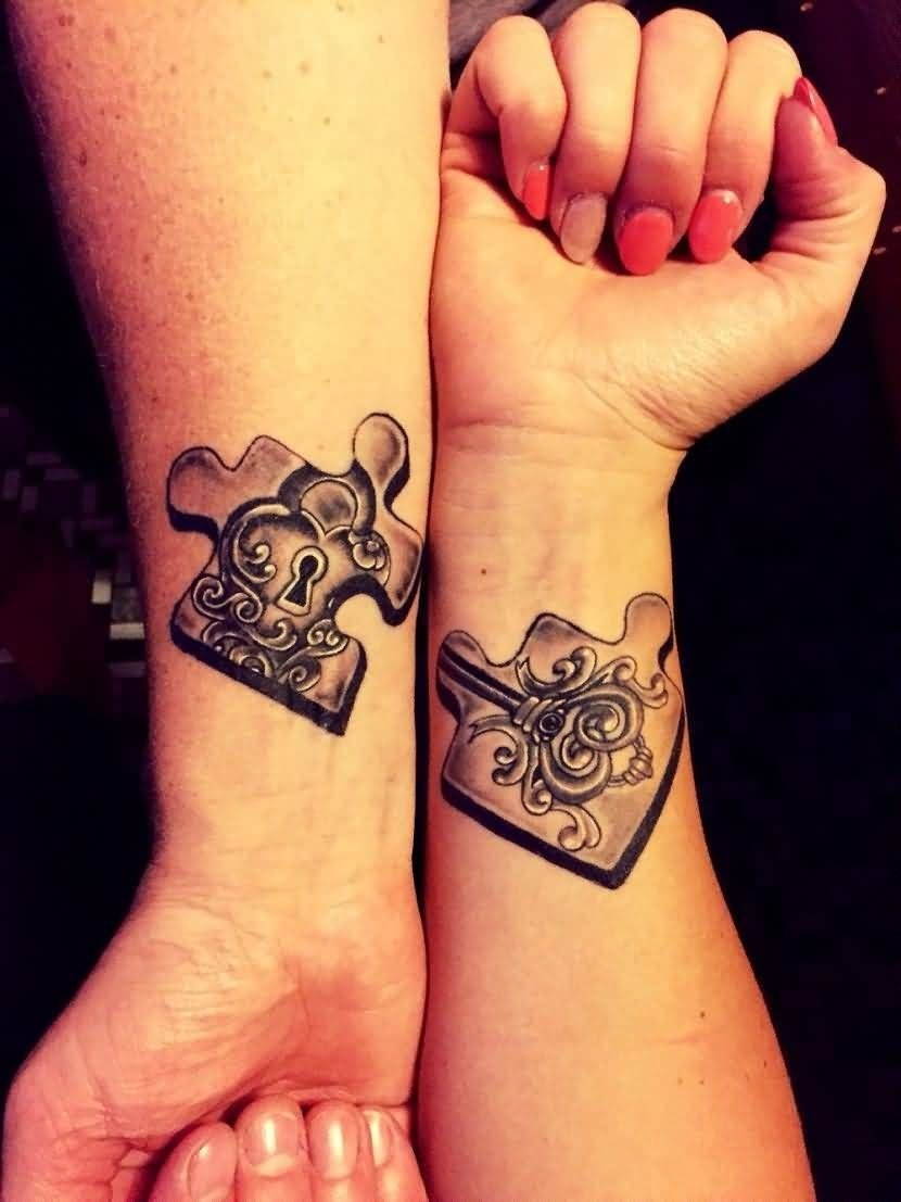 10 Most Popular Matching Tattoo Ideas For Couples matching puzzle tattoo on couple wrist tattoo ideas pinterest
