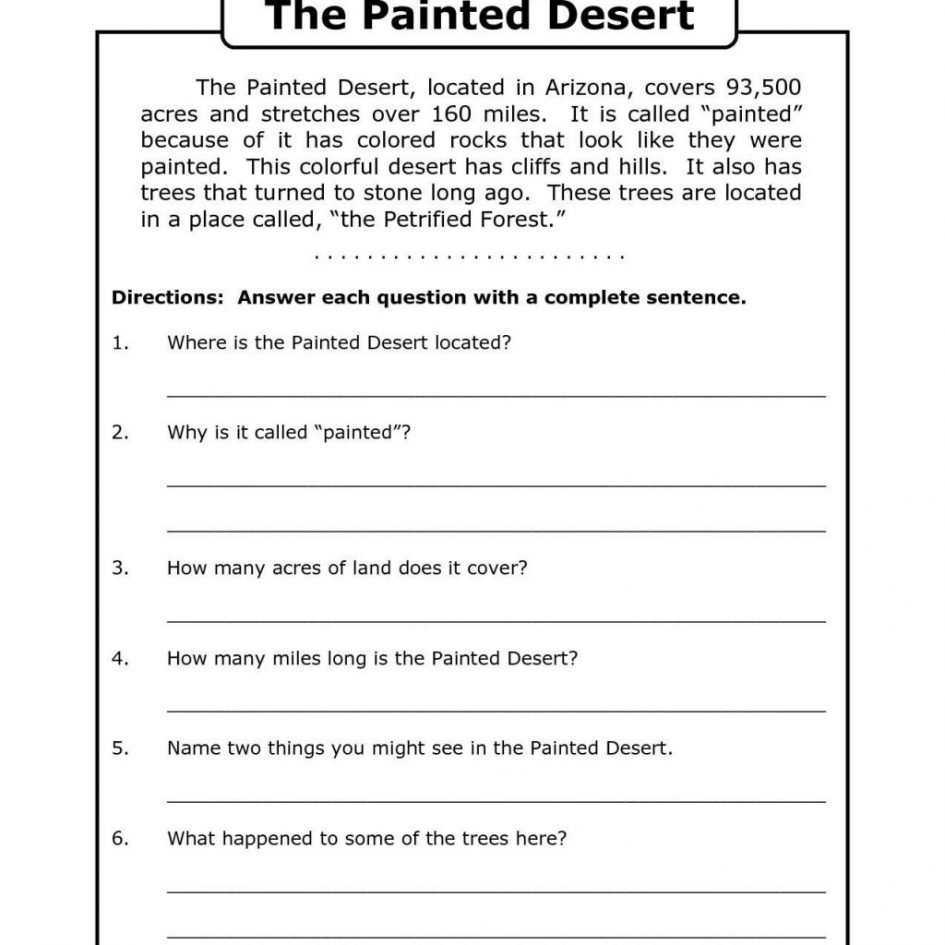 10 Attractive 4Th Grade Main Idea Worksheets math 4th grade work sheets reading comprehension worksheets th 2020
