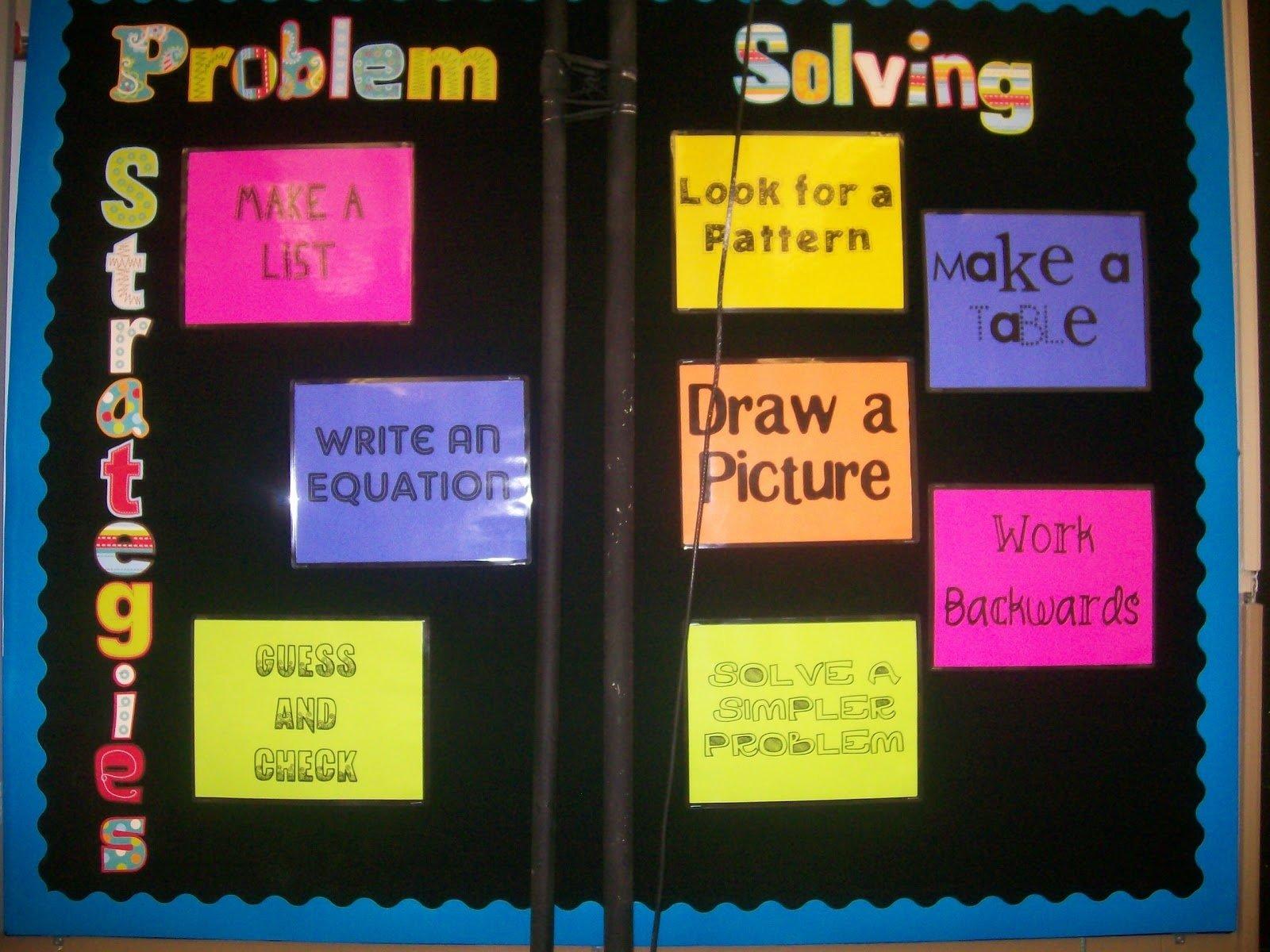 10 Attractive High School Math Bulletin Board Ideas math love problem solving strategies bulletin board 1 2020