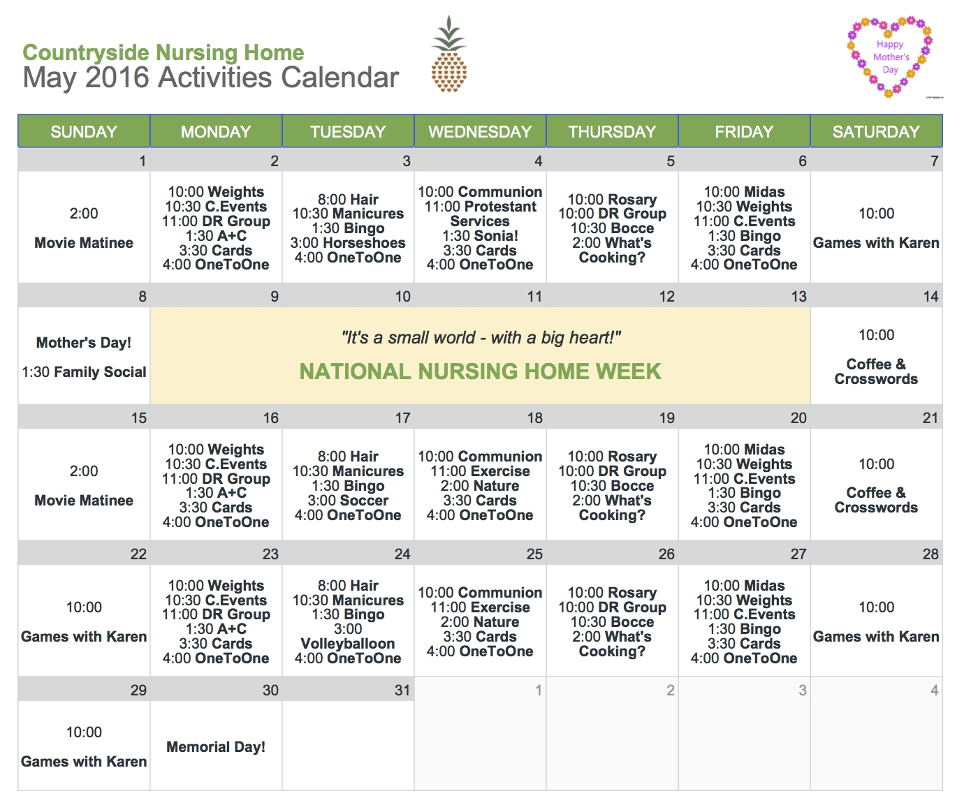 10 Beautiful National Nursing Home Week Ideas may activities calendar countryside nursing home 2020