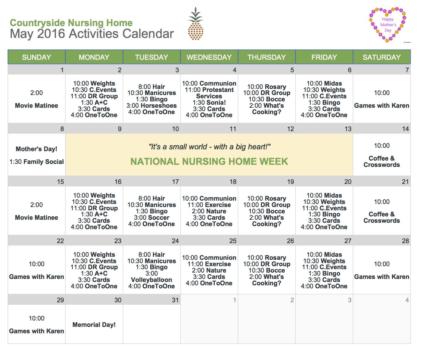 Calendar Ideas For May : Beautiful national nursing home week ideas