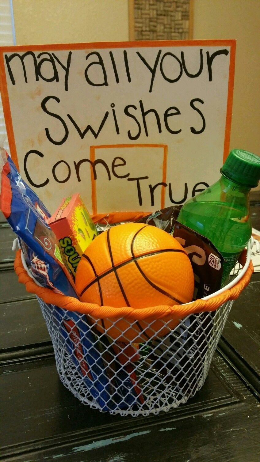may all your swishes come true. basketball gift basket. we found