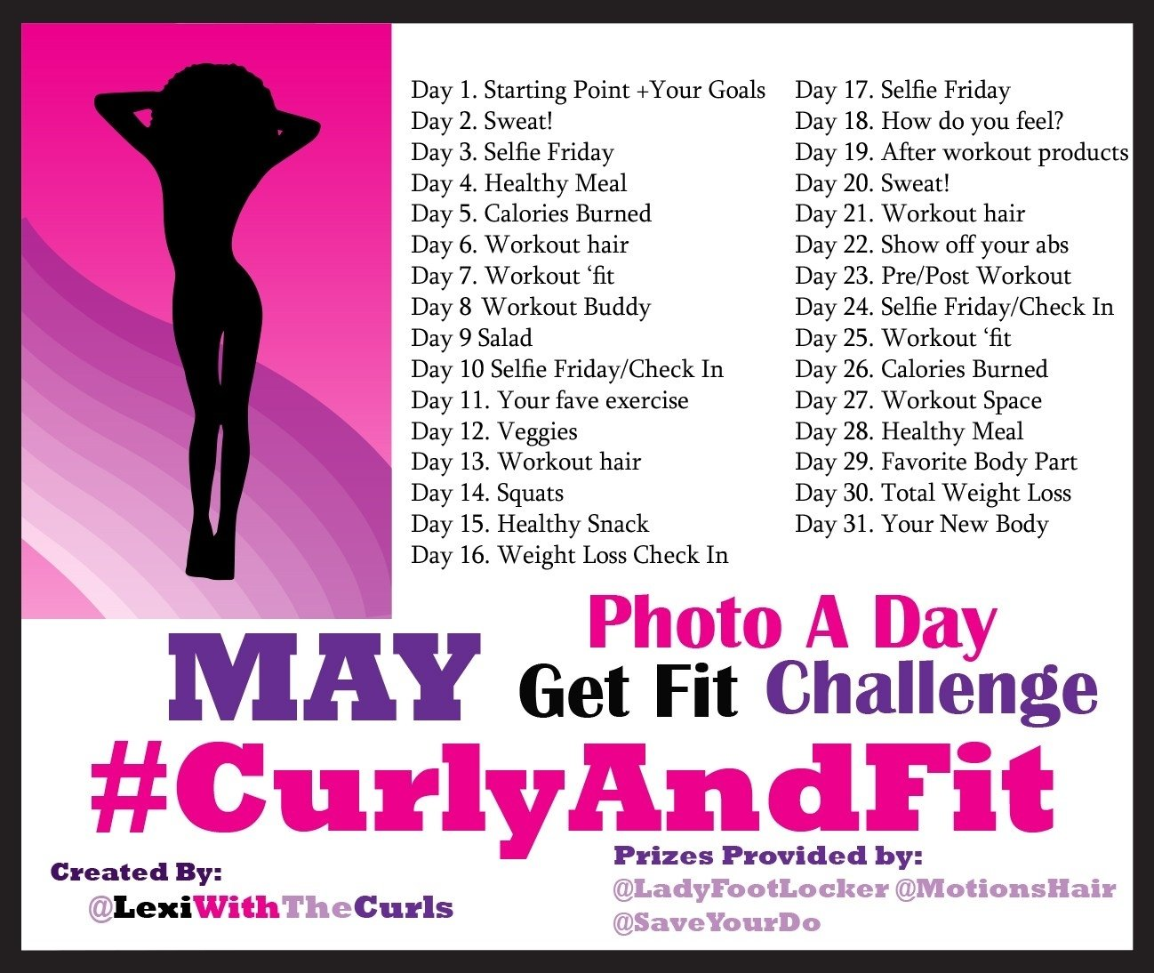 may photo a day #curlyandfit weight loss challenge prizes