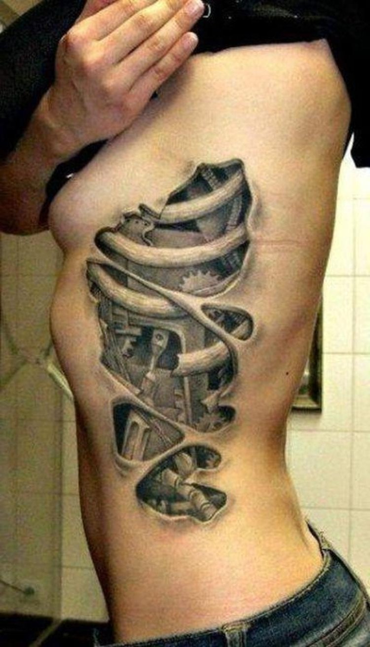 mens rib tattoo ideas 3d cool body thigh tattoos guys for men - best