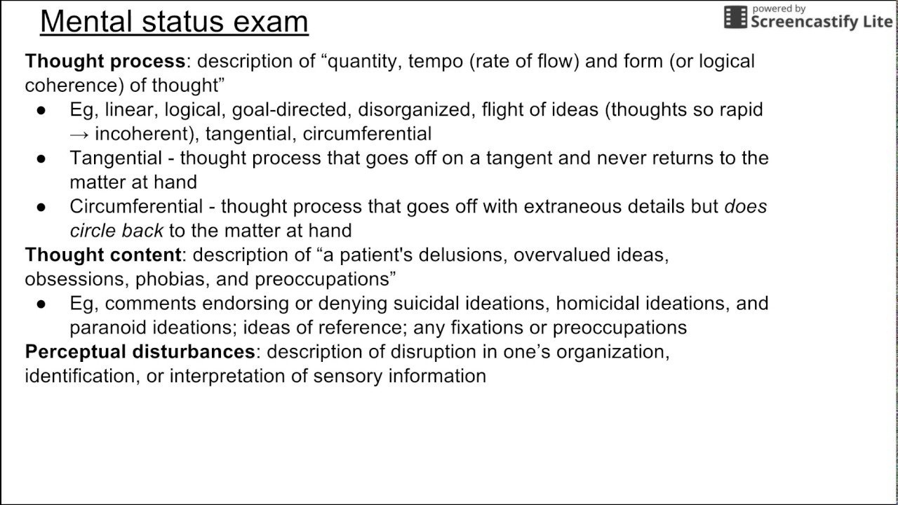 10 Unique Flight Of Ideas Thought Process mental status exam youtube 2020
