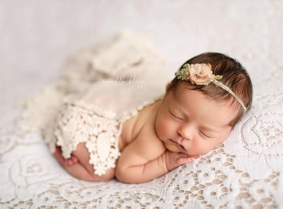 10 Gorgeous Cute Newborn Baby Picture Ideas meredith klapp photography sweet girl newborn photo with lace and