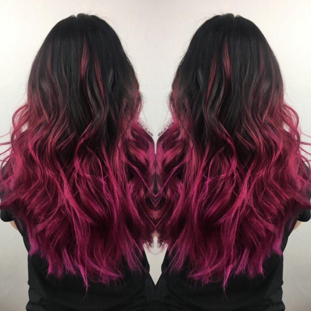 10 Unique Pink And Black Hair Ideas mermaid hair brunette hair color ideas pink hair magenta hair