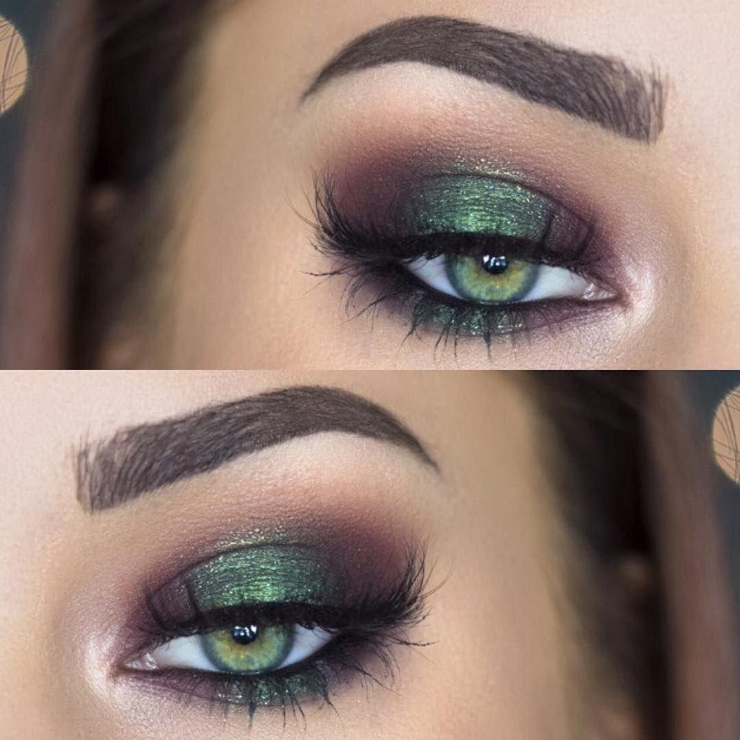 10 Nice Eyeshadow Ideas For Green Eyes metallic emerald green smokey eye makeup makenziewilder make up