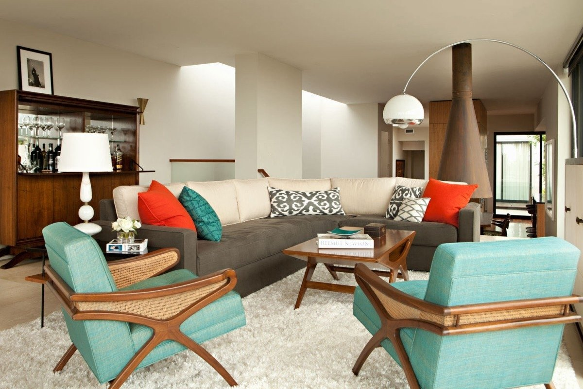 mid century modern living room ideas - interior paint colors 2017