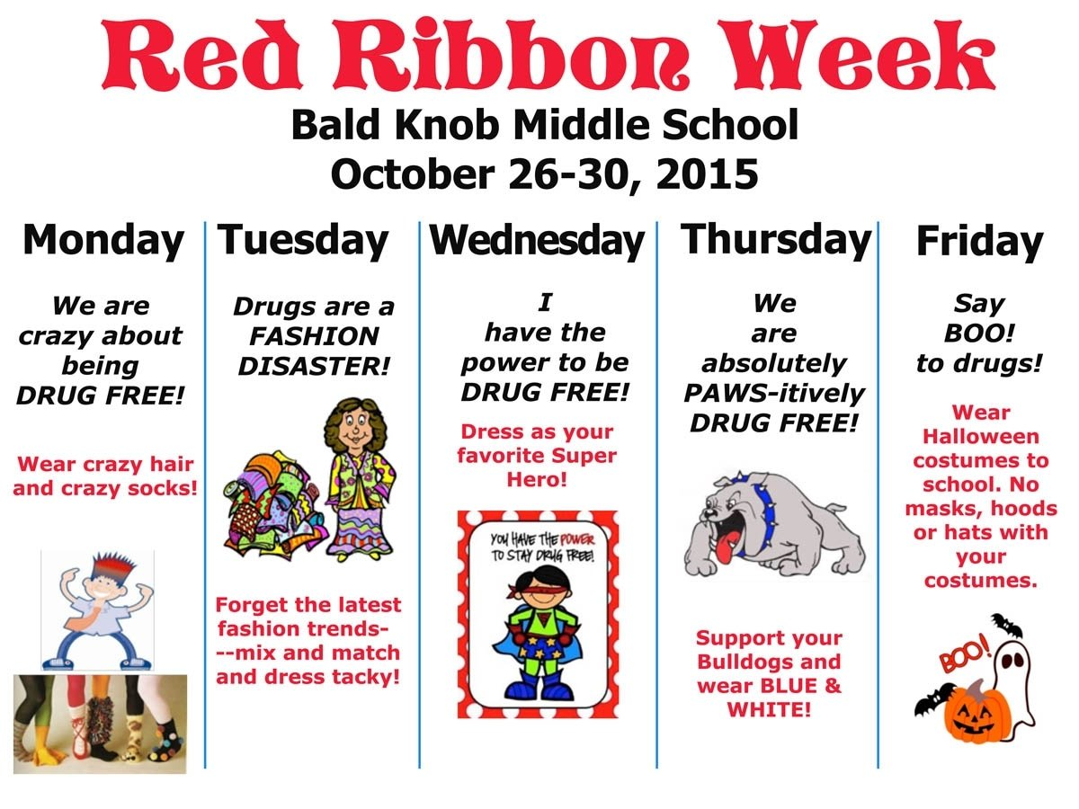 10 Best Red Ribbon Week Ideas For Middle School middle school red ribbon week bald knob public school 2020
