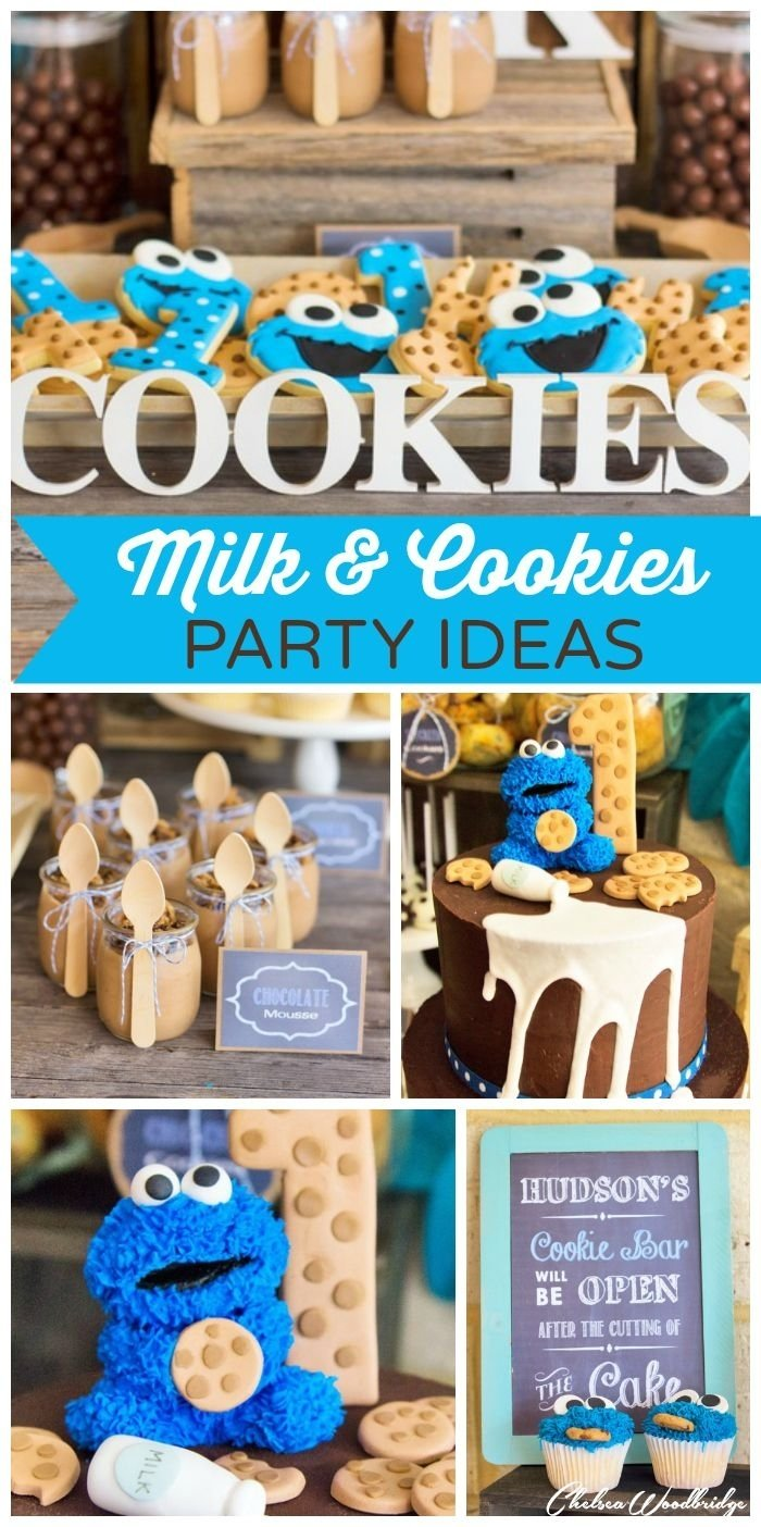 "milk and cookies / birthday ""hudson's milk and cookie monster 1st"