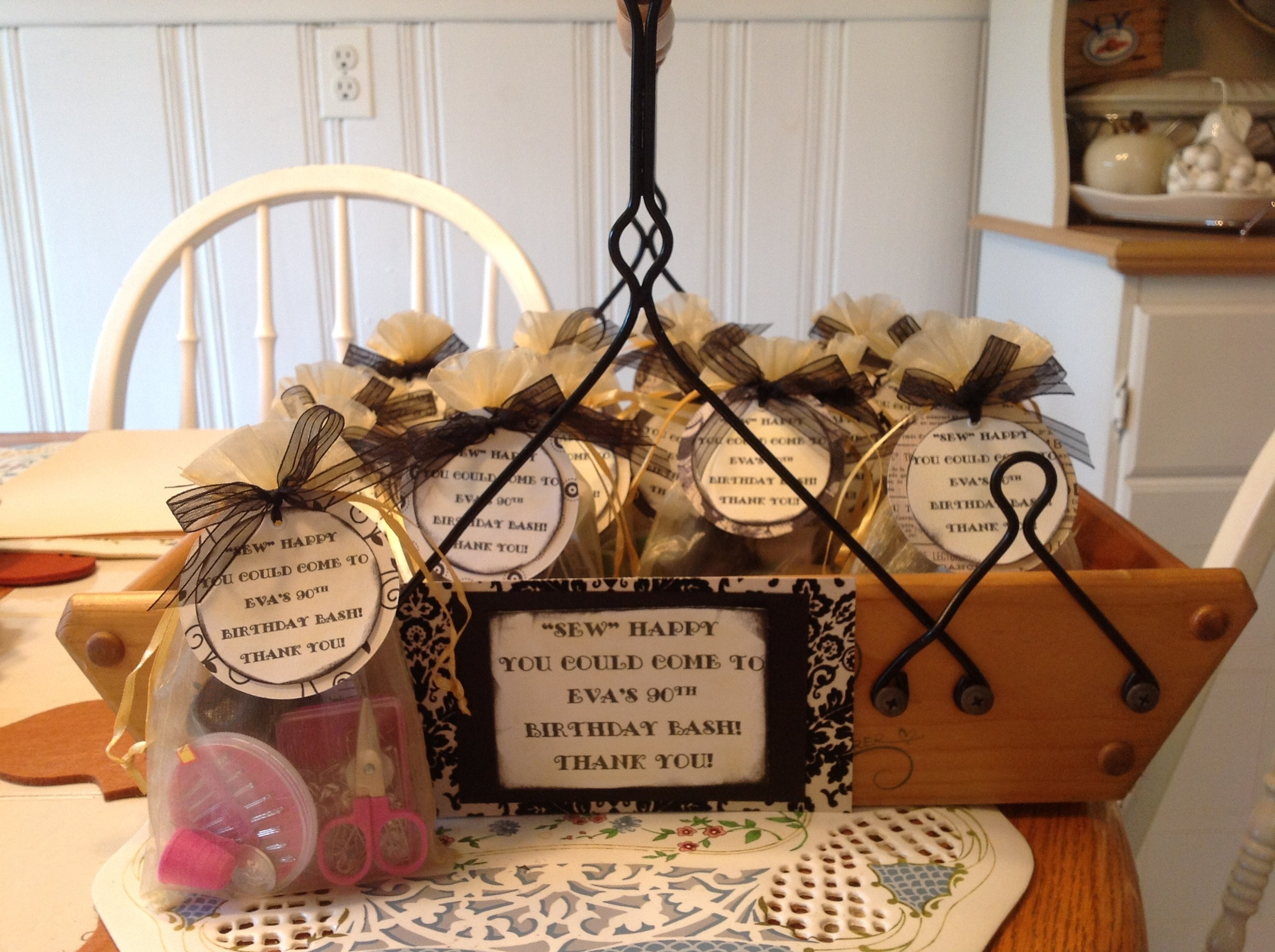 mini sewing kits as a party favor for a 90th birthday party for a