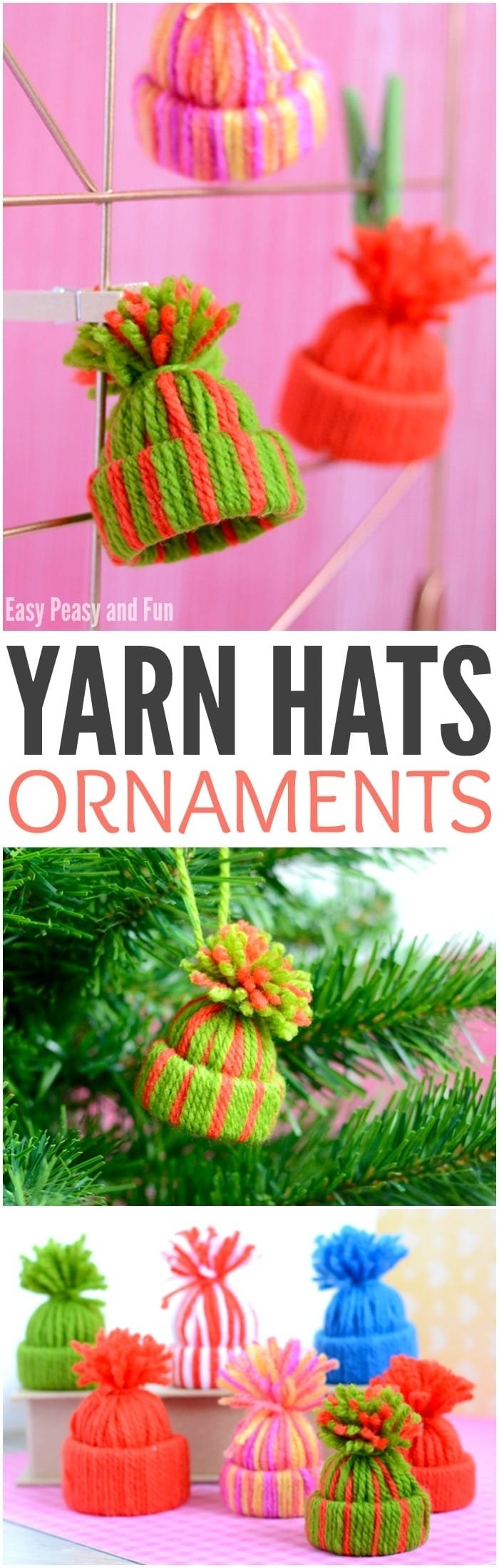 10 Most Popular Homemade Christmas Ornament Ideas For Kids mini yarn hats ornaments diy christmas ornaments easy peasy and fun 2020