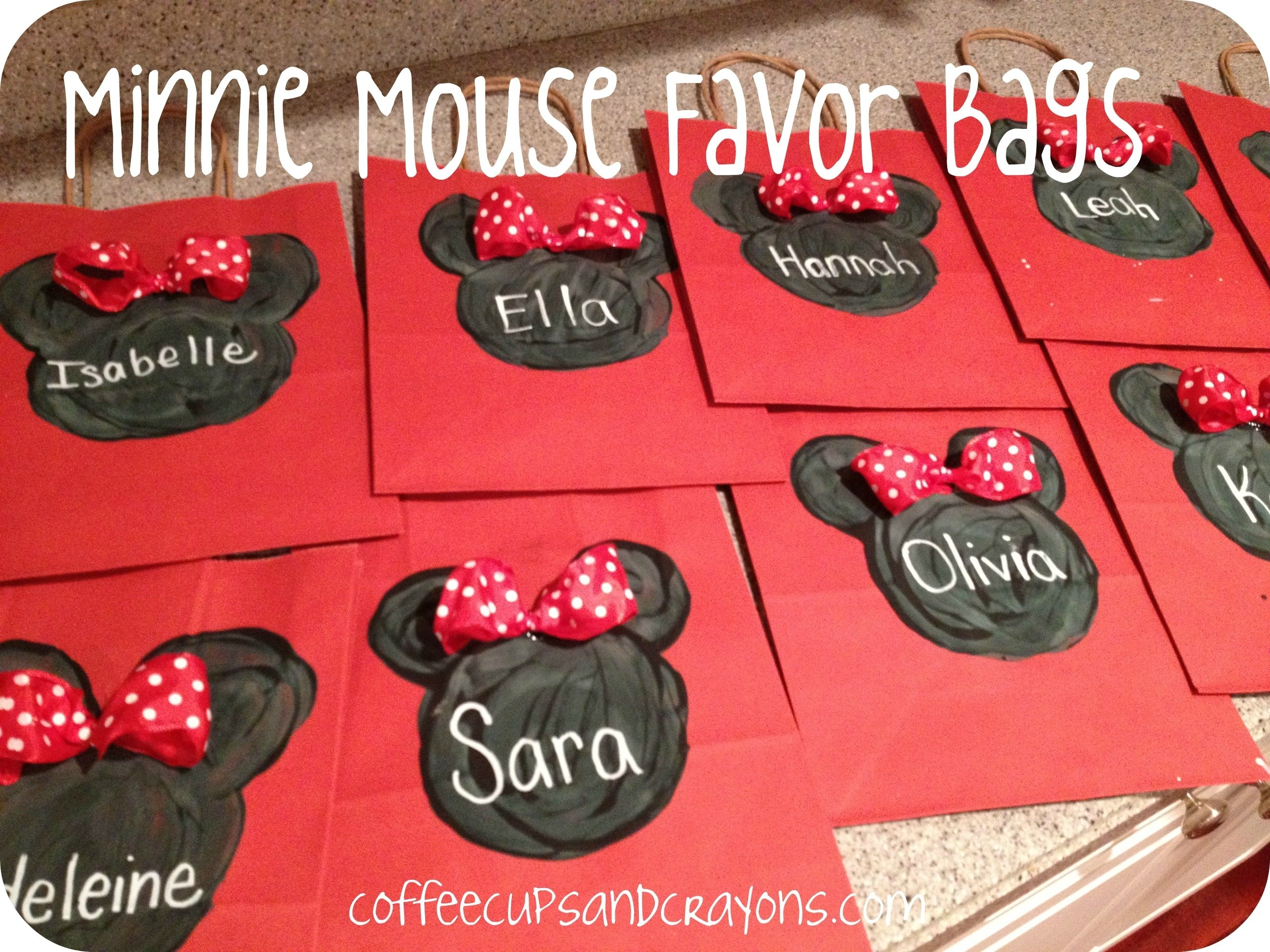 10 Attractive Mickey Mouse Goody Bag Ideas minnie and mickey favor bags and mouse ears coffee cups and crayons 2020
