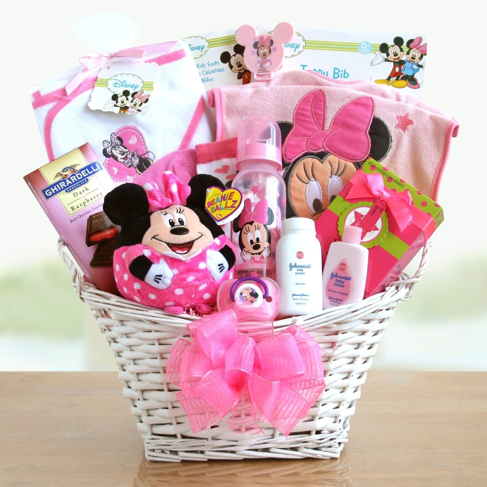 10 Lovable Baby Girl Gift Basket Ideas minnie mouse baby girl gift basket hayneedle