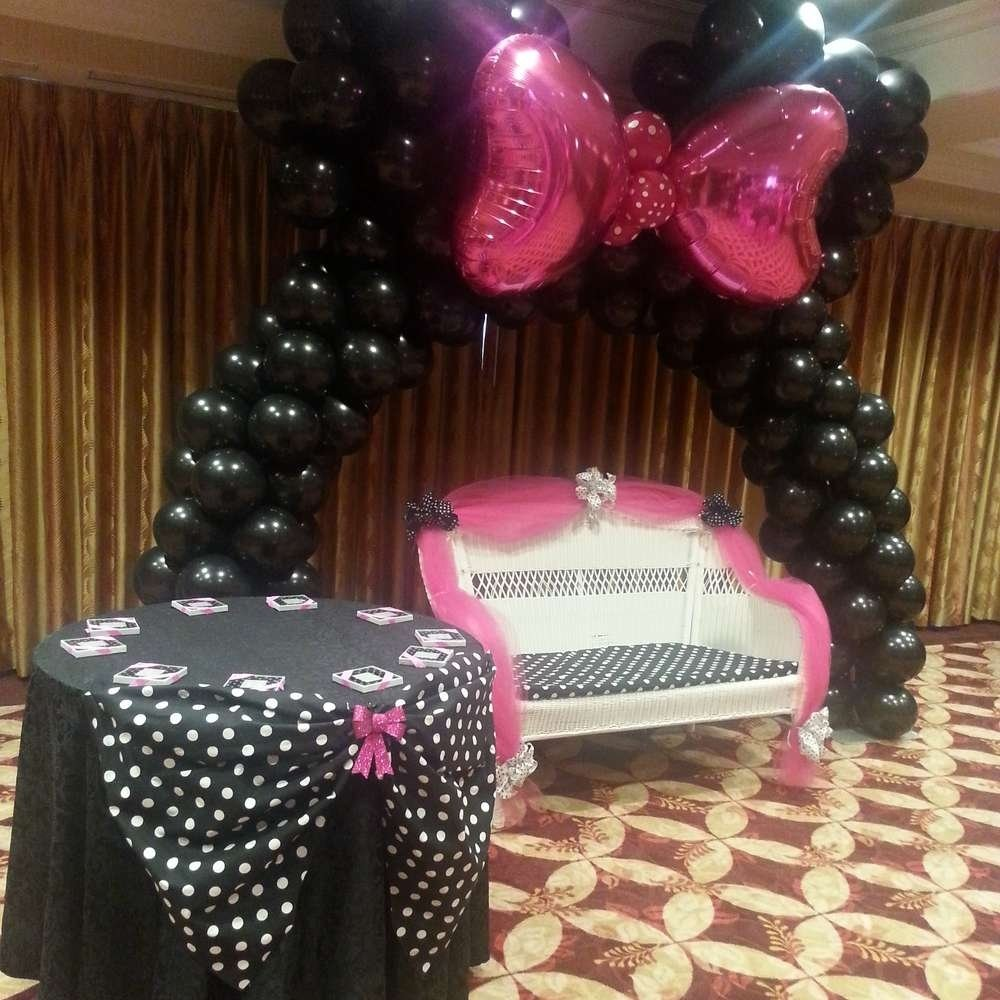 minnie mouse polka dots baby shower party ideas | photo 3 of 10