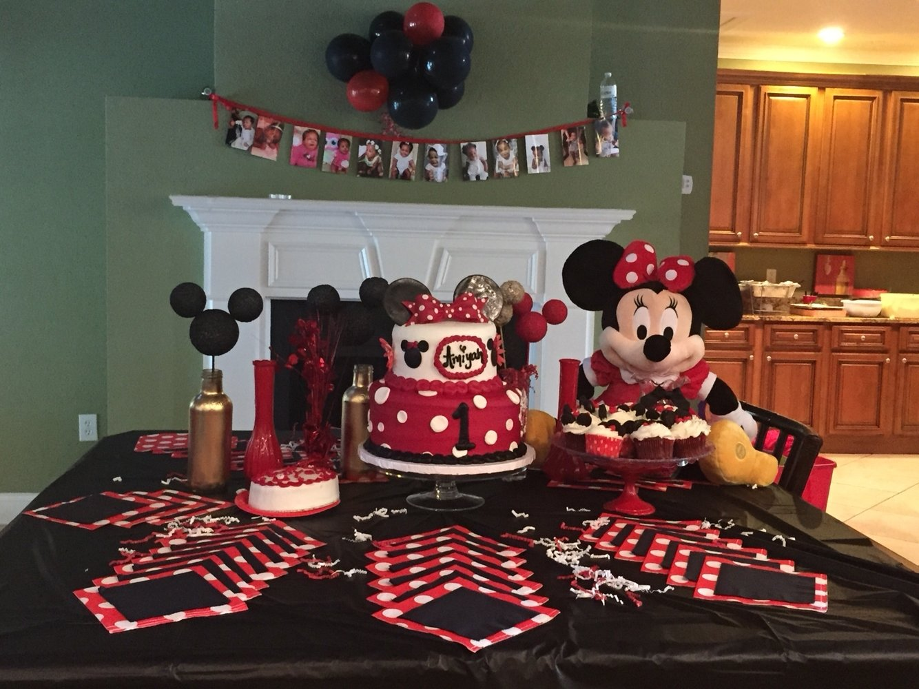 10 Stylish Red Minnie Mouse Party Ideas minnie mouse red gold black white theme for my babys first black and