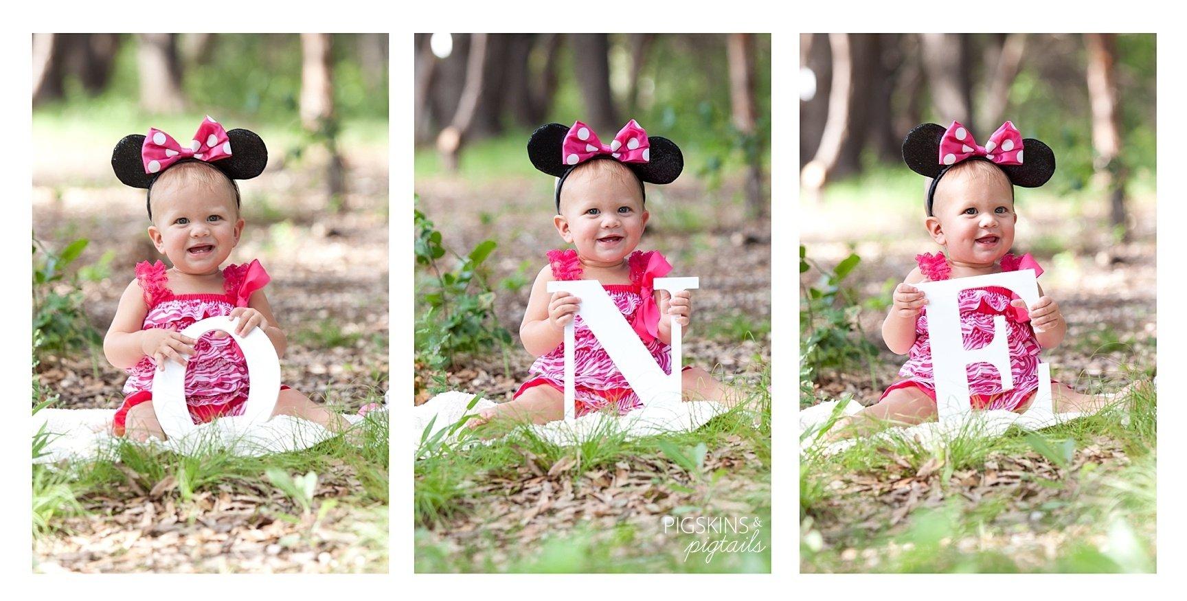 10 Lovely First Birthday Photo Shoot Ideas minnie theme first birthday photo shoot pigskins pigtails 1 2020