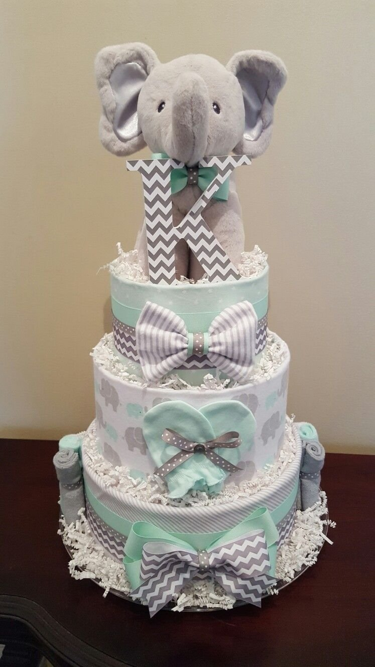 10 Cute Diaper Cake Ideas For Baby Boy mint green and grey elephant diaper cake baby shower centerpiece