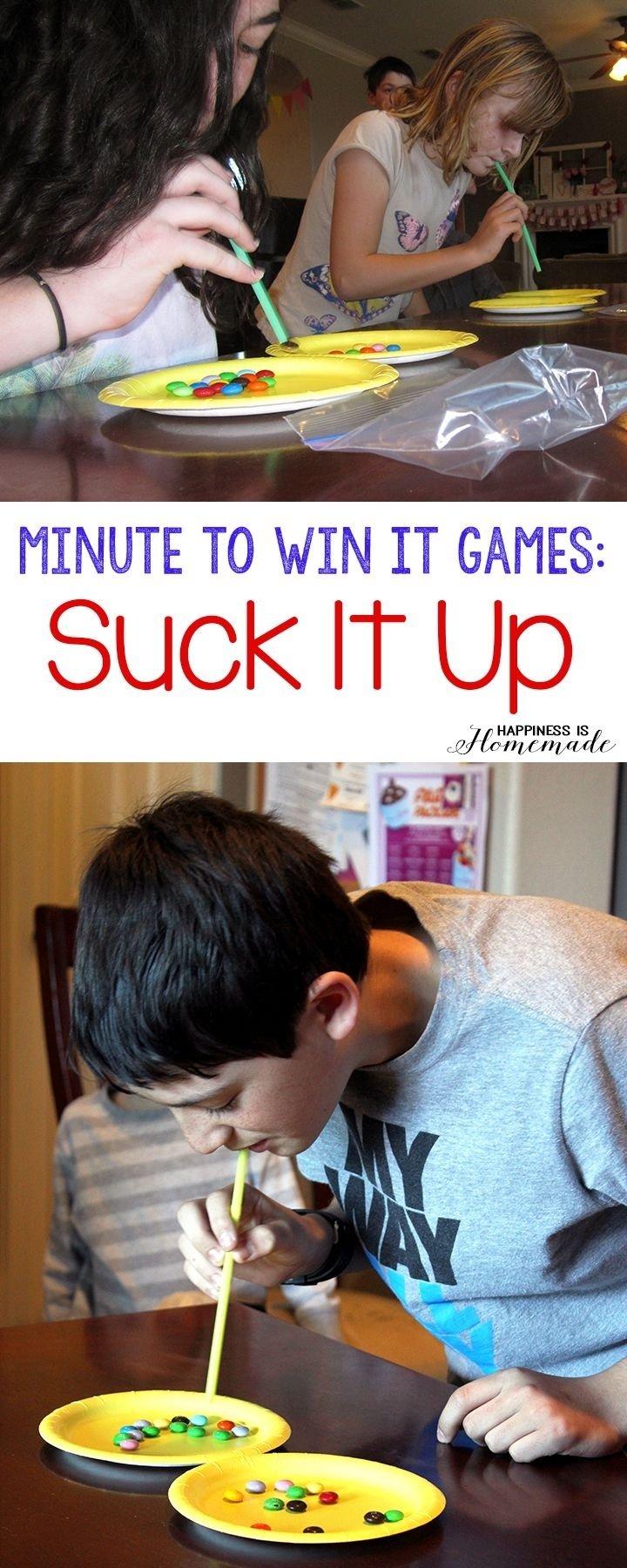 10 Pretty Minute To Win It Ideas For Kids minute to win it games suck it up 10 more fun minute to win it 2020