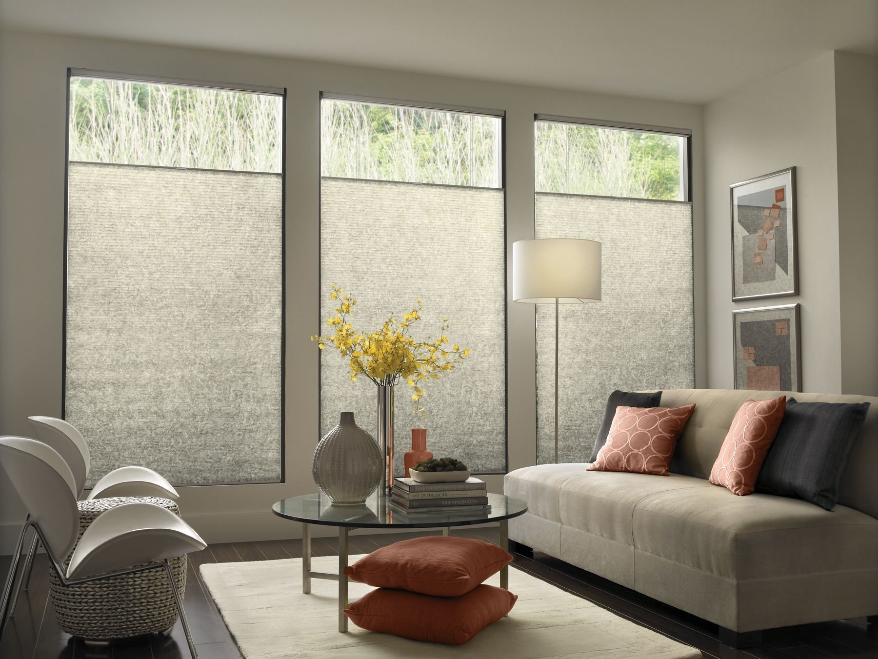10 Cute Living Room Window Treatment Ideas modern contemporary window treatments with mid century modern sofa 1 2021